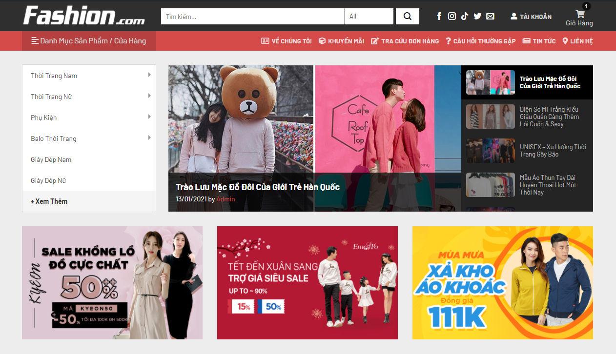 Sourcecode web bán hàng thời trang Fashion