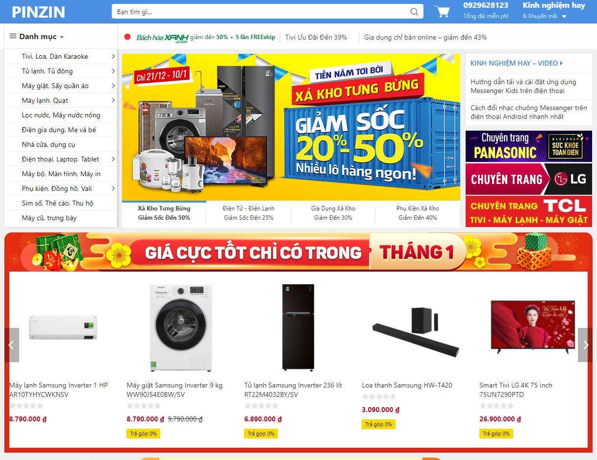 Sourcecode web PINZIN giống Điện Máy Xanh
