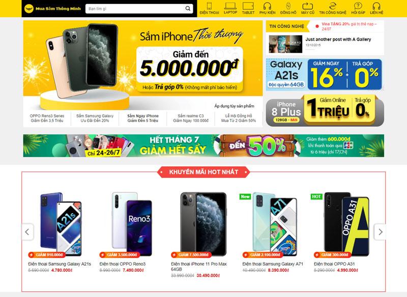 Web bán hàng giống thegioididong.com