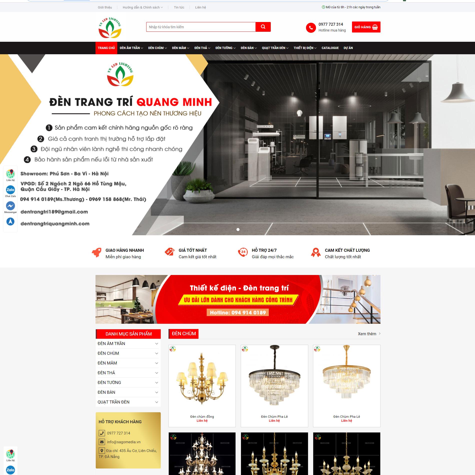 Source mẫu website đèn trang trí Quang Minh