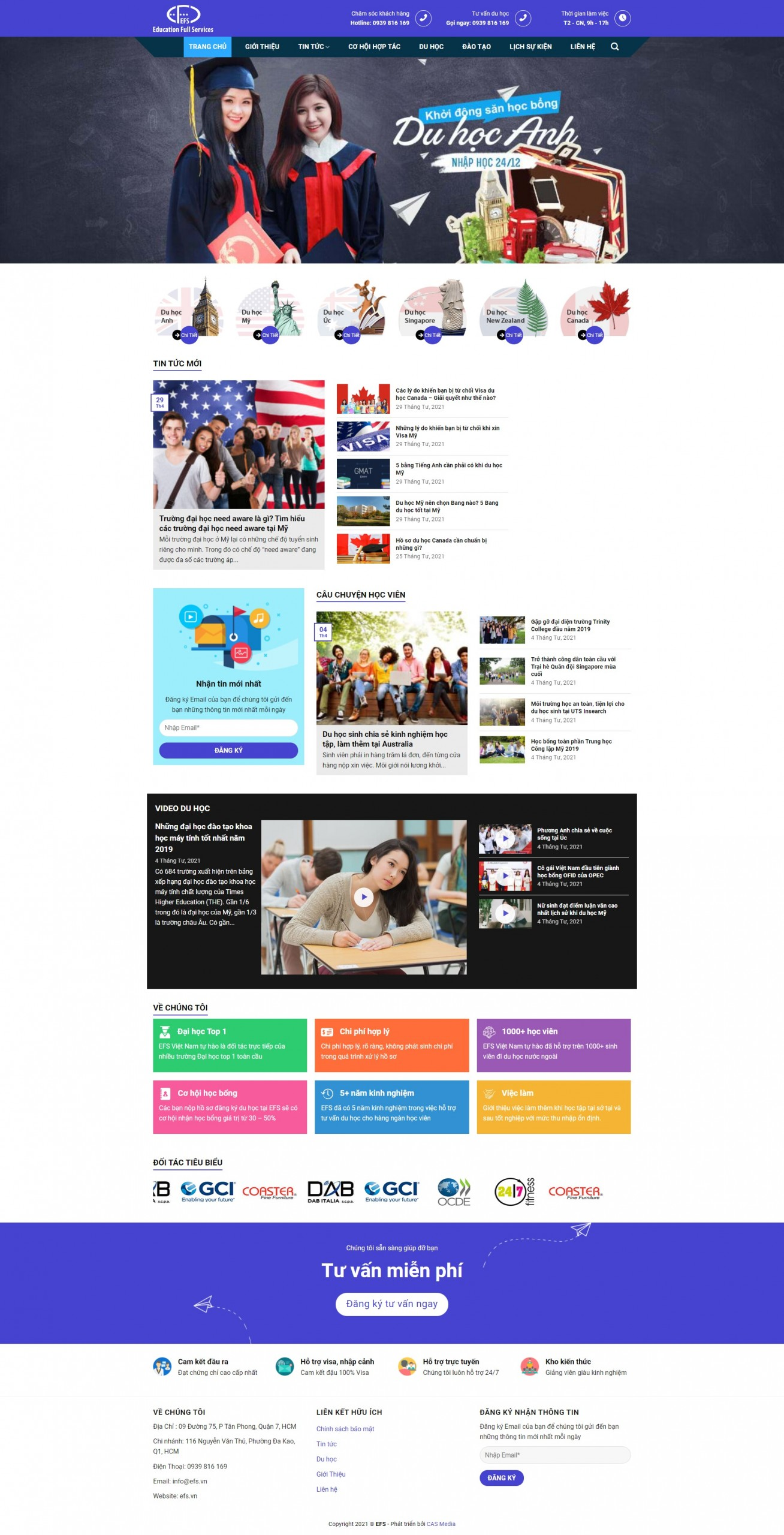 Sourcecode trang web dịch vụ du học Education Full Services