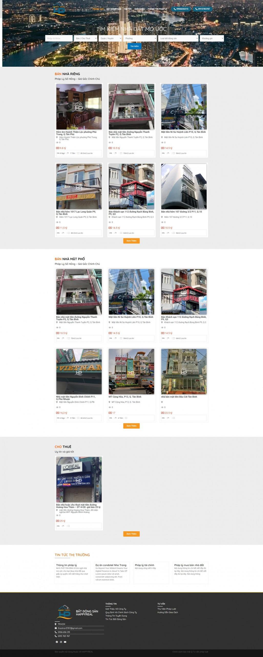 Sourcecode website kinh doanh bất động sản nhà phố