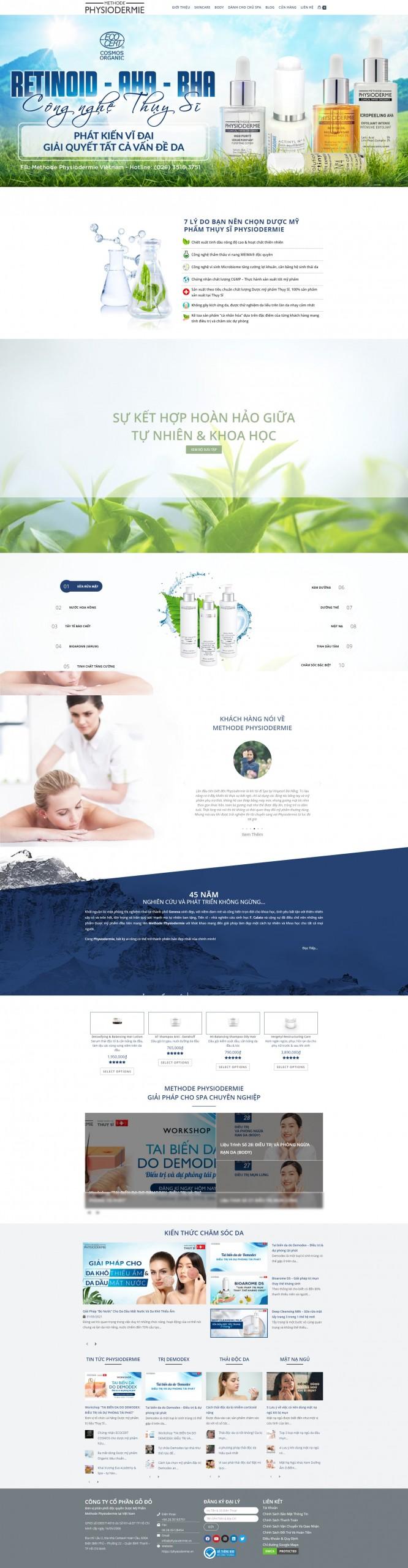Sourcecode web bán mỹ phẩm siêu đẹp Physioderme