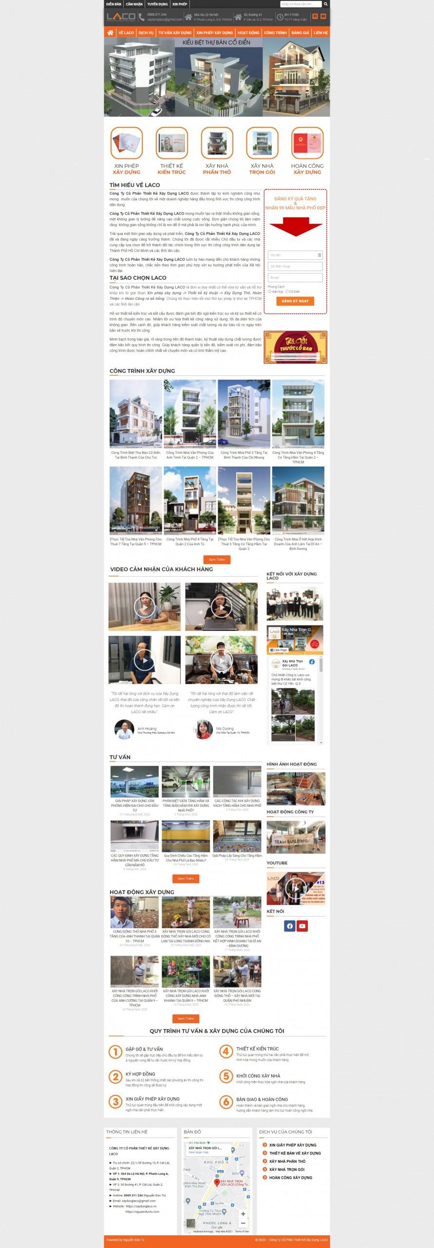 Sourcecode web dịch vụ xây dựng nhà (bằng Elementor)
